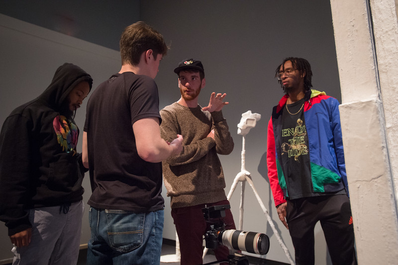 Professor Ruth Goldman's media production class filming music video at Burchfield-Penney Art Center at Buffalo State College.