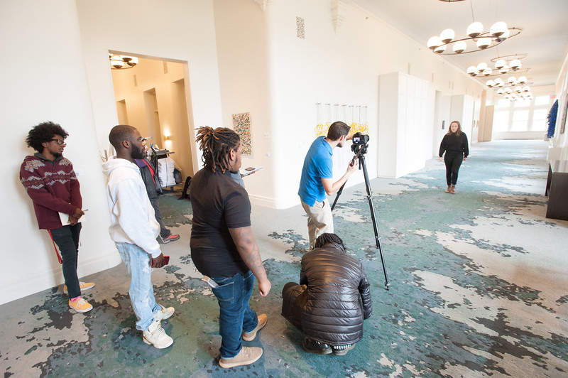 Buffalo State College  Media Production  students shooting music video at Hotel Henry.