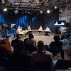 Professor Bruce Bryski's Public Speaking course meeting in Bulger television studio at Buffalo State College.