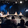 Professor Bruce Bryski's Public Speaking course meeting in Bulger television studio at Buffalo State College.