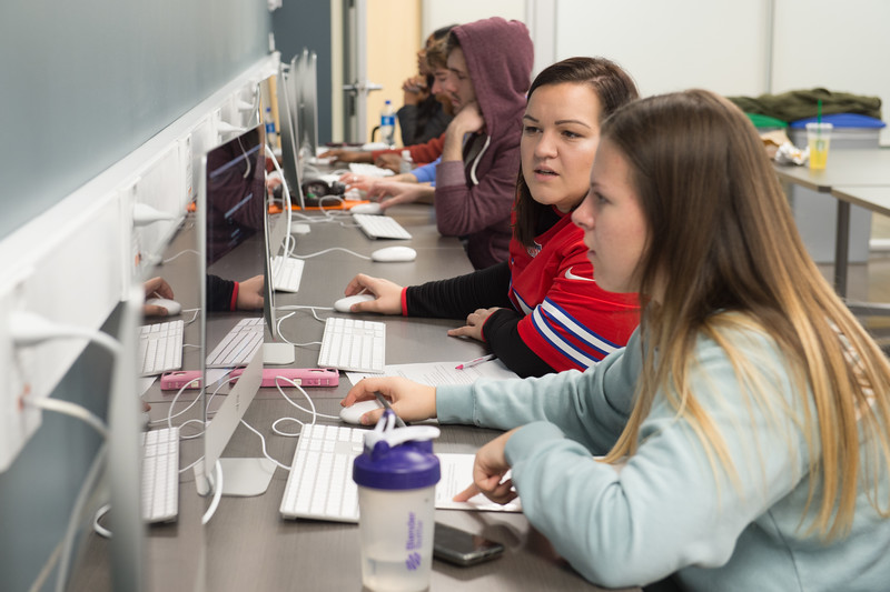 Students working in Professor Tammy McGovern's Communication class at Buffalo State College.