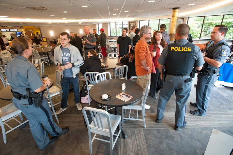 """Students, faculty and staff having """"Coffee WIth a Cop"""" at Buffalo State College."""