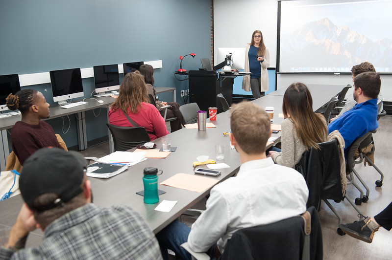 Student presentations during the Communication Department Fall Forum at Buffalo State College.