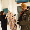 Fashion Design students working with Historic Fashion Collection at Buffalo State College.