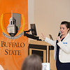 Sarah Collins (Future of Privacy Forum) speaking at the Data Analytics Across Disciplines Conference at Buffalo State College.