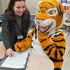 Tutor orientation by Lauren Copeland with special guest Benji the Bengal mascot at Buffalo State College.