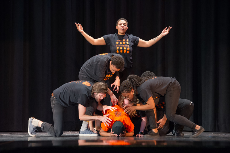 """Buffalo State College's Anne Frank Project (AFP) performance of """"The Space Between"""" at Lewis J. Bennett High School."""