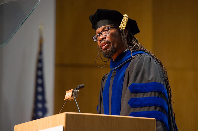 Sociology professor Dr. Ron Stewart giving keynote address at the Honors Convocation at Buffalo State College.