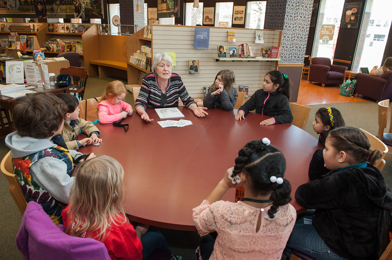 """Book reading of """"Top Leaf"""" by author Jennifer Gold during the UUP Take Your Child to Work Day at Buffalo State College."""