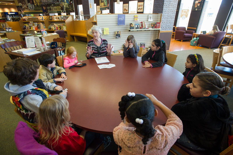 "Book reading of ""Top Leaf"" by author Jennifer Gold during the UUP Take Your Child to Work Day at Buffalo State College."