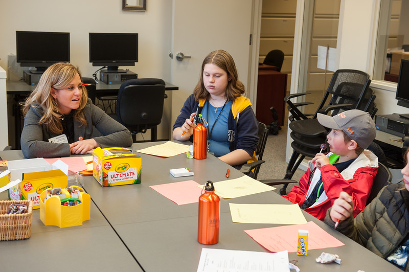 Children visiting the Career Development Center during the UUP Take Your Child to Work Day at Buffalo State College.