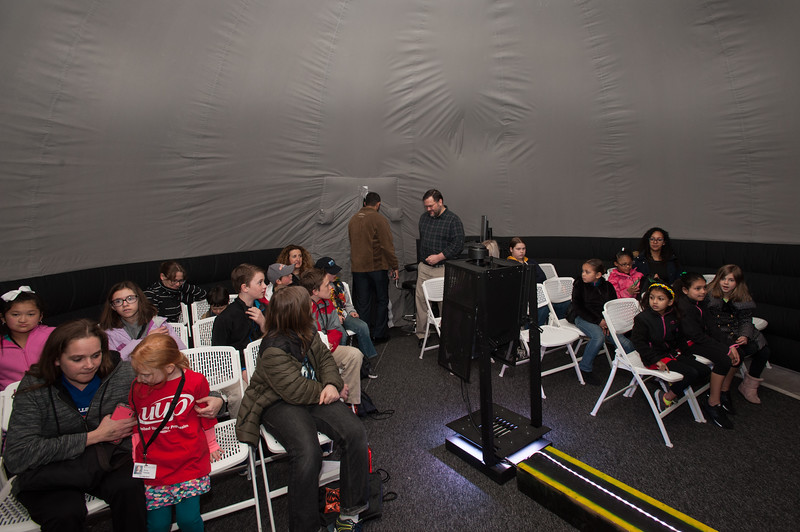 Children visiting planetarium during UUP Take Your Child to Work Day at Buffalo State College.