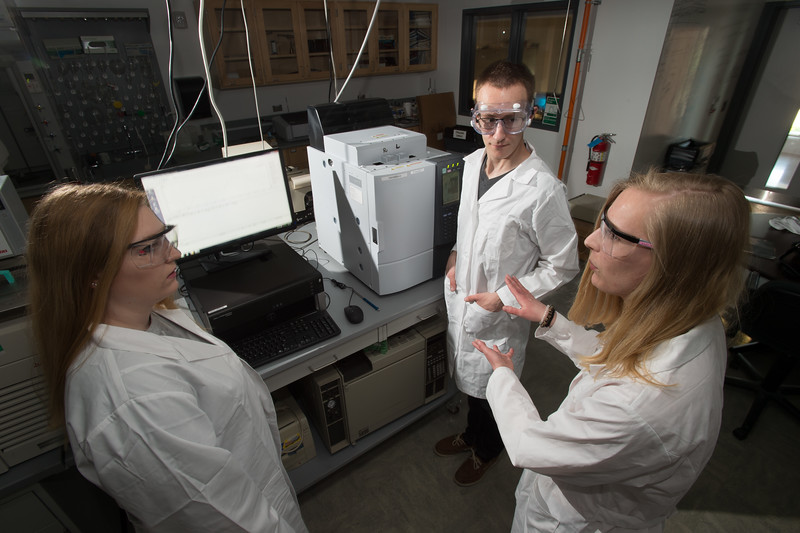 Students working in Dr. Zeki Al-Saigh's lab at Buffalo State College.