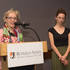 Student Lucia P. LaPlaca recieving the Dean's Medal during the School of Arts and Humanities Dean's Award Ceremony at Buffalo State College.