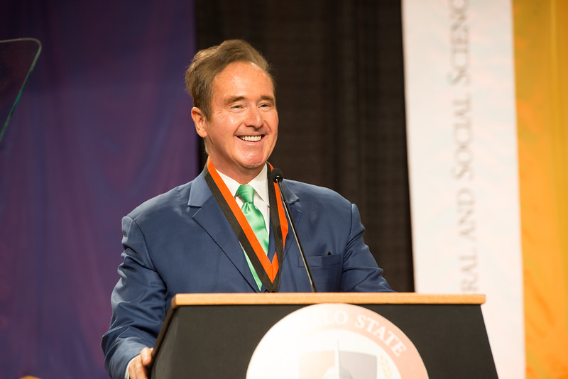 Congressman Brian Higgins speaking during the Graduate Commencement at Buffalo State College.