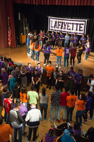 """Anne Frank Project (AFP) performing """"The Space Between"""" and doing workshop for students at Lafayette High School in Buffalo, New York."""