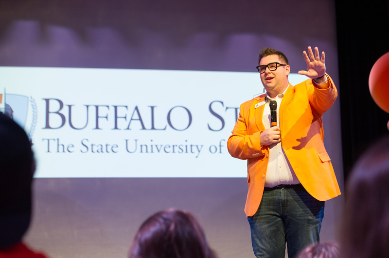 New student and family orientation at Buffalo State College.
