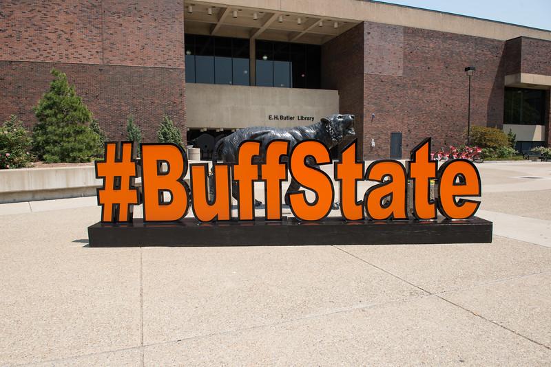 Hash tag Buff State sign with Bengal sculpture for display in Campbell Student Union at Buffalo State College
