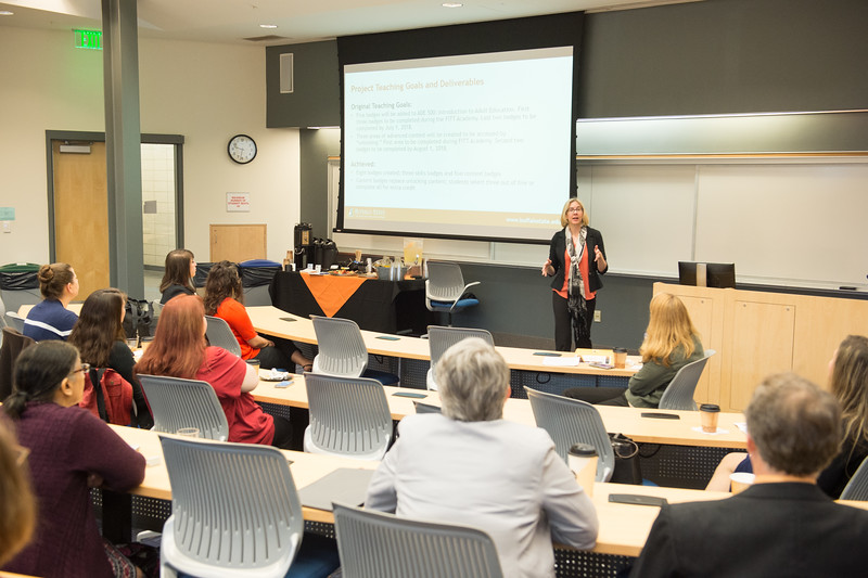 Fostering Innovation in Teaching with Technology (FITT) Academy final presentations at Buffalo State College.