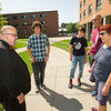 Vice-President for Student Affairs, Tim Gordon greeting students during Move In Day at Buffalo State College.