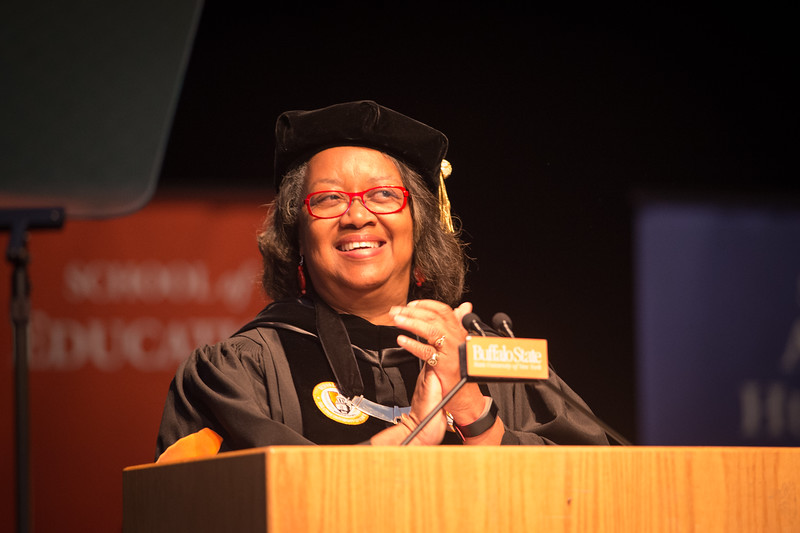 President Katherine Conway-Turner speaking at First-Year Convocation at Buffalo State College.