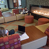 Students studying in the Campbell Student Union at Buffalo State College.