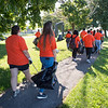 Students working with the Buffalo Niagara Waterkeepers at LaSalle Park during the Bengals Dare to Care Day at Buffalo State College.
