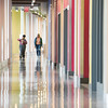Students walking in Science Building corridor at Buffalo State College.