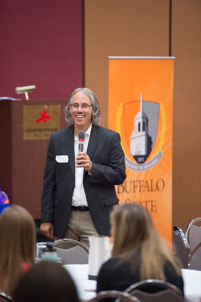New York State Teacher of the Year, Chris Albrecht speaks at the Professional Development Schools (PDS) retreat hosted by Buffalo State College.