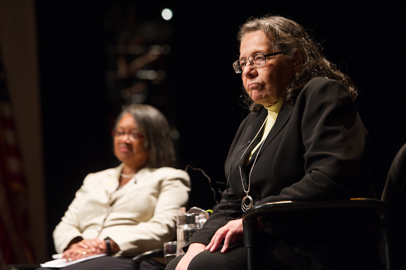 Civil rights activist Diane Nash speaking at Buffalo State College.