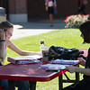 Students studying near Student Union at SUNY Buffalo State College.