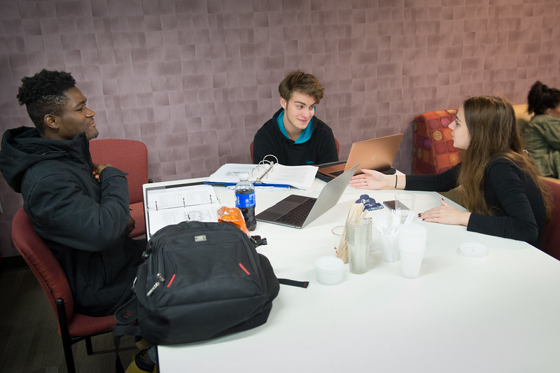 Students studying in Student Union at SUNY Buffalo State College.