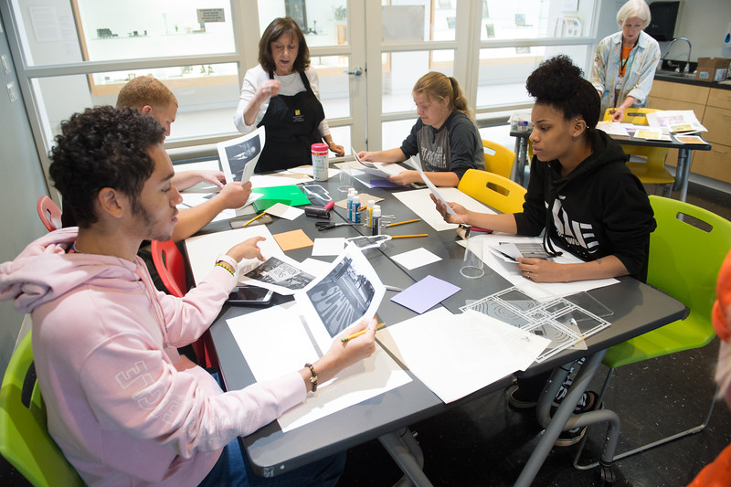 """""""Collaborative Printmaking"""" workshop  during the Anne Frank Project Social Justice Festival at SUNY Buffalo State."""