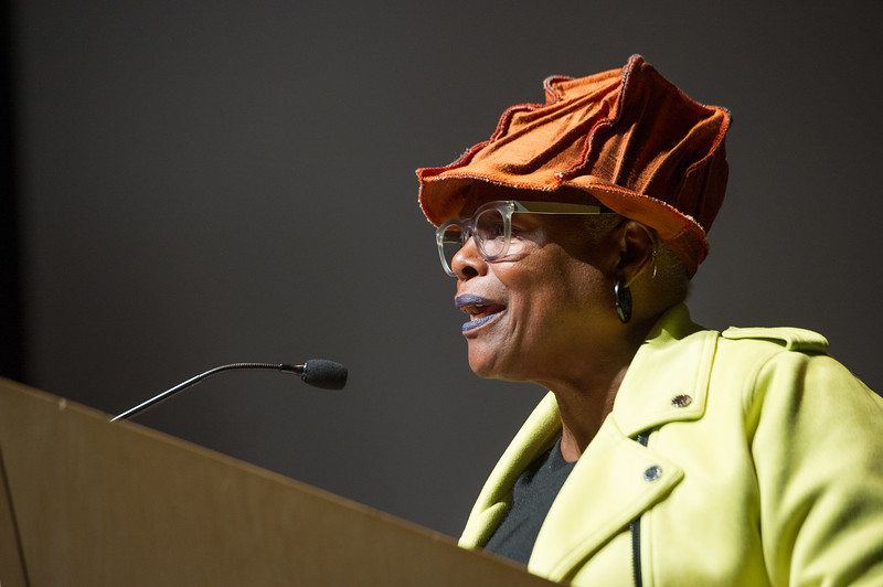 Author and activist Dr. Alexis DeVeaux speaking during the Anne Frank Project Social Justice Festival at SUNY Buffalo State.