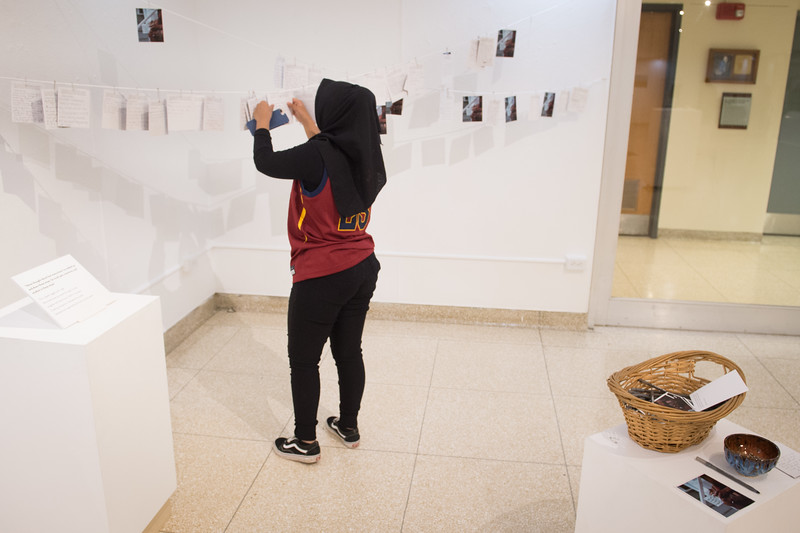 Urban Teachers Academy students viewing artshows during the Anne Frank Project Social Justice Festival at SUNY Buffalo State.