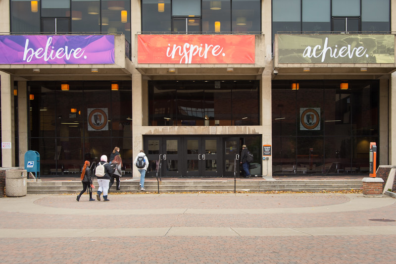 Believe, Inspire, Achieve banners on Student Union at SUNY Buffalo State College.