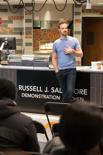 Author and chef, Barton Seaver working in Russel Salvatore Demonstration Kitchen at SUNY Buffalo State College.