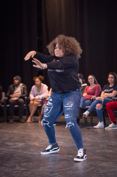Theater student Briany Suero performing at the New Student Showcase at SUNY Buffalo State College.