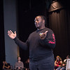 Theater student Shaquille Young performing at the New Student Showcase at SUNY Buffalo State College.