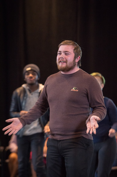 Theater student Jacob Thompson performing at the New Student Showcase at SUNY Buffalo State College.