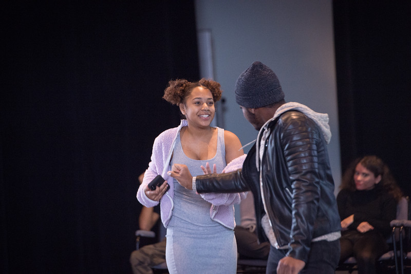 Theater student Kobe Thurman and Shellian Henriques Quallo  performing at the New Student Showcase at SUNY Buffalo State College.