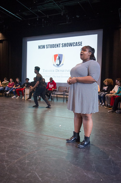 Theater student Kennedy Lee singing and  Naheim Paris dancing at the New Student Showcase at SUNY Buffalo State College.
