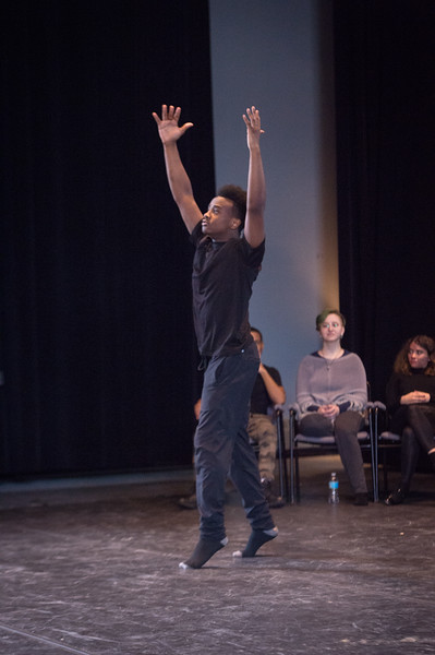 Theater student Naheim Paris performing at the New Student Showcase at SUNY Buffalo State College.