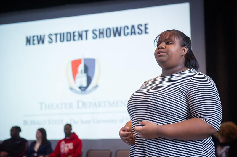 Theater student Kennedy Lee singing during the New Student Showcase at SUNY Buffalo State College.