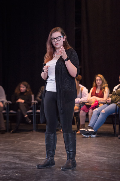 Theater student Meghan Putman performing at the New Student Showcase at SUNY Buffalo State College.
