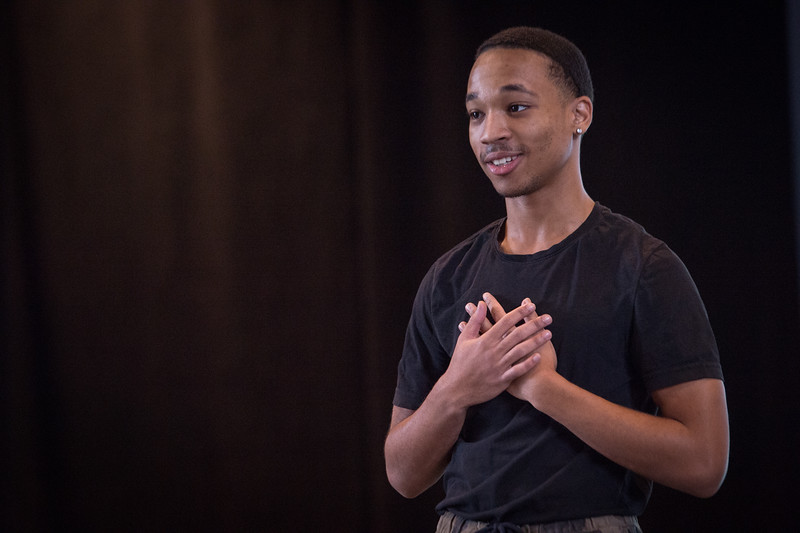 Theater student Elijah Ramsay performing at the New Student Showcase at SUNY Buffalo State College.