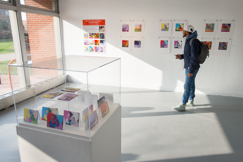 """""""The Four Seasons Project"""" student art show in the Margaret Bacon Student Gallery at SUNY Buffalo State College."""