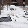 Benches in Union quad buried in snow at Buffalo State College.
