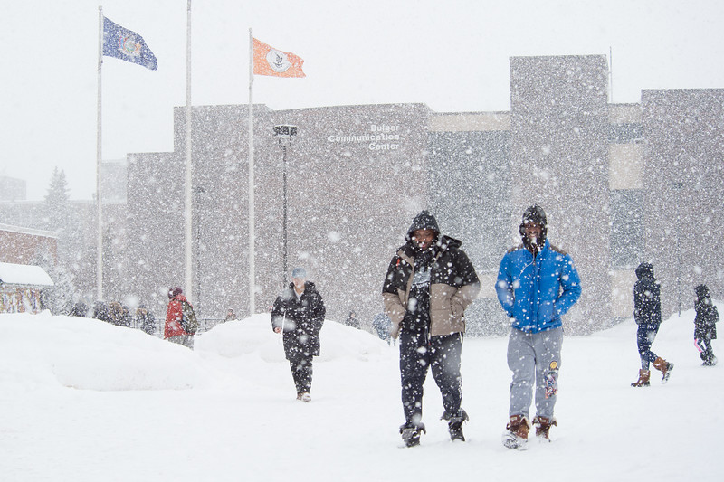 Campus scenics during winter snow storm at Buffalo State College.
