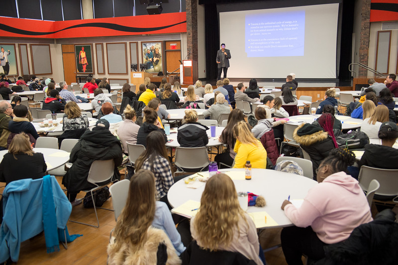 """Fostering Resilience"" talk by Dr. Darryl Tonemah at Buffalo State College."